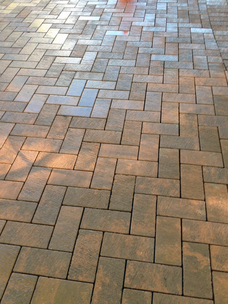 light terra cotta bricks in a chevron pattern