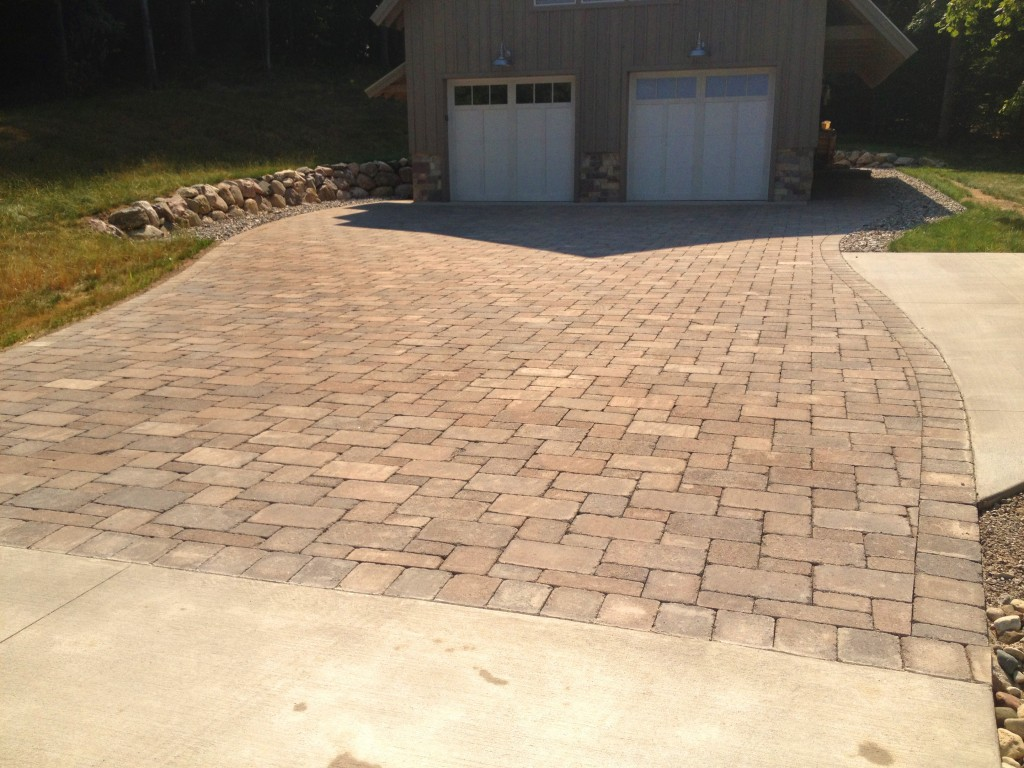 large brick pavers outside of garage