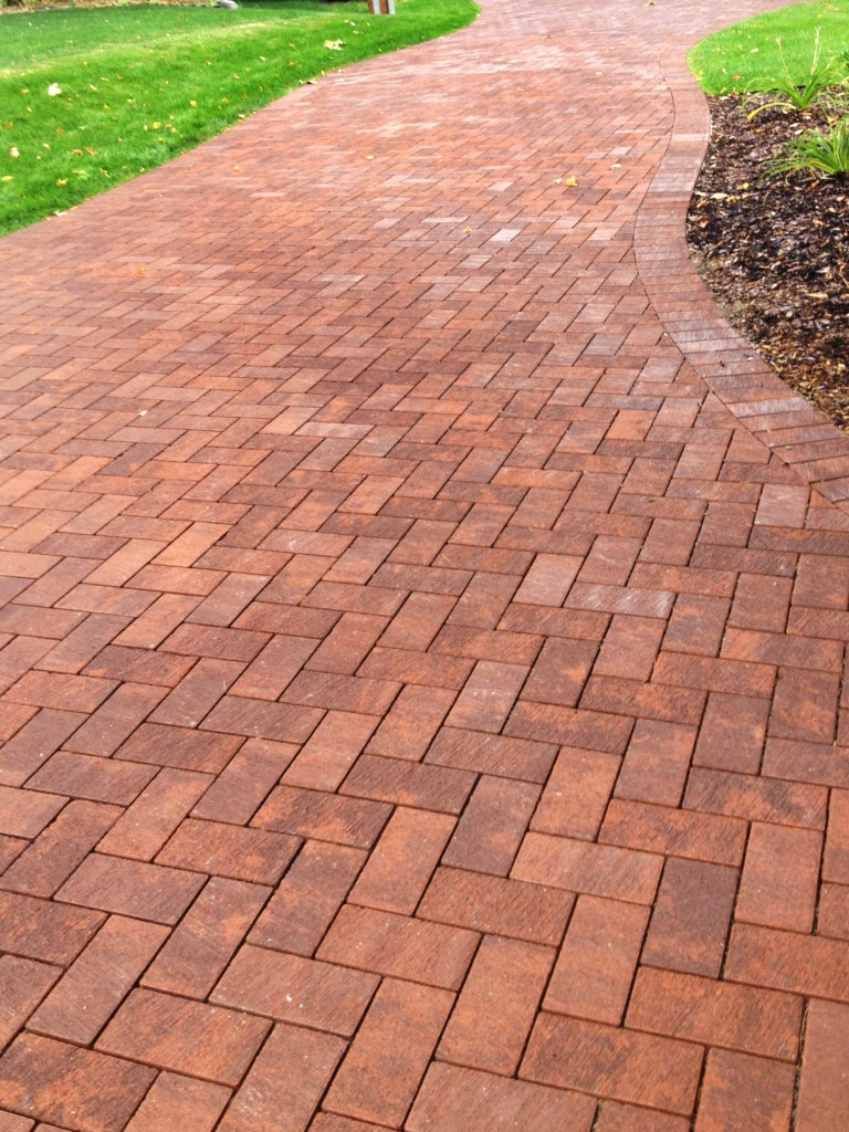 curvy red brick walkway