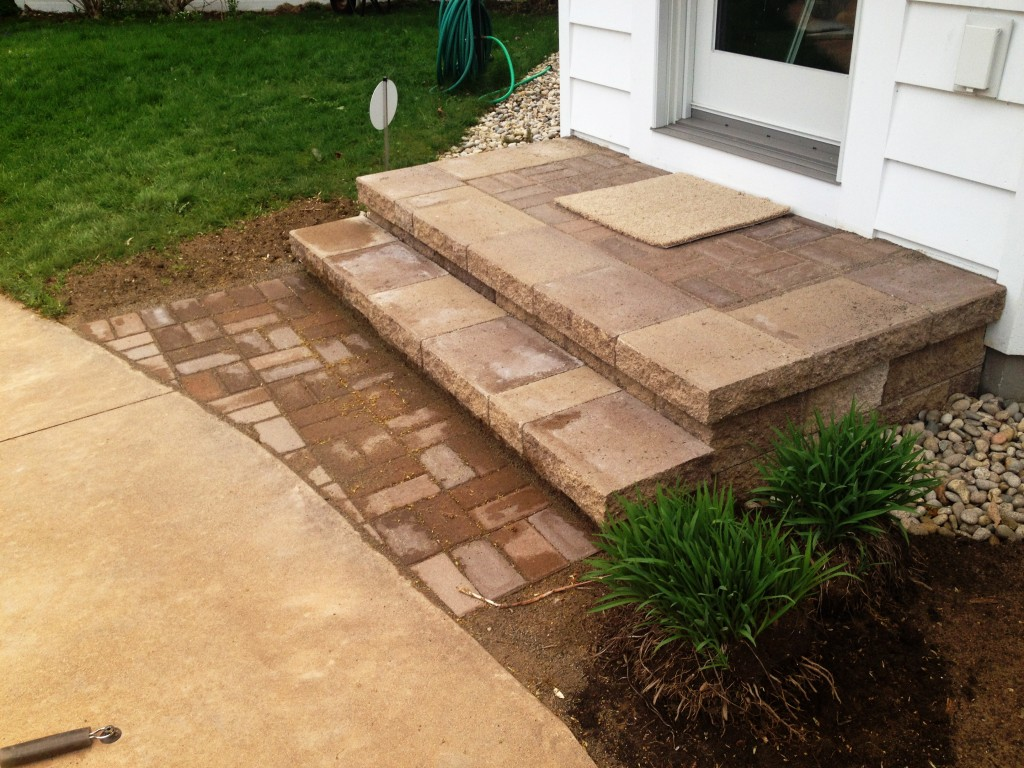back door paver stone steps