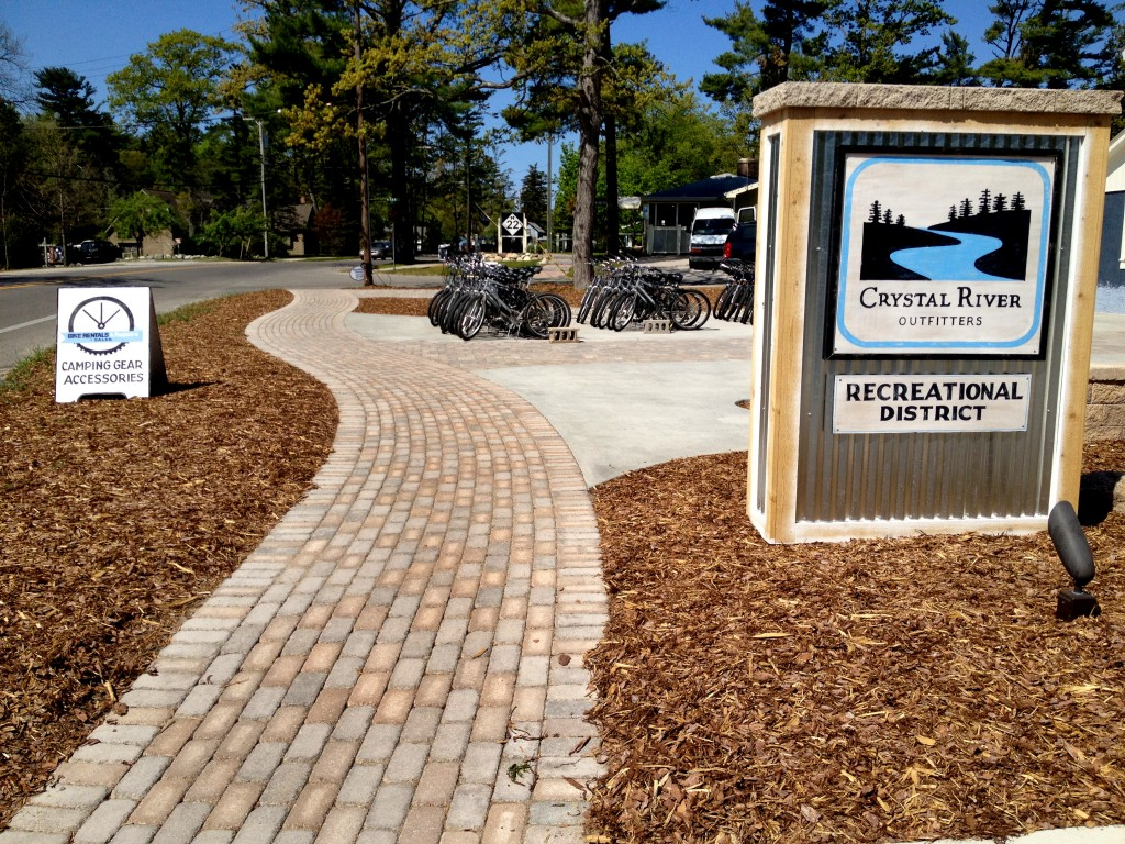 brick and mulch used for landscaping business entry
