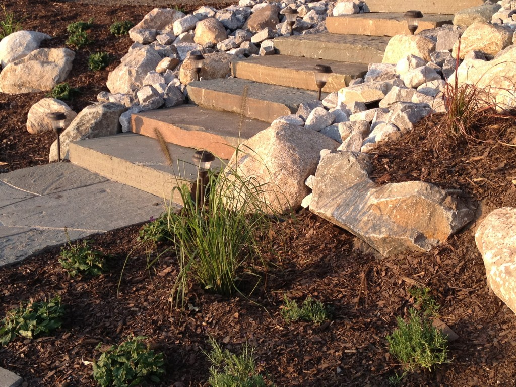 mulched herb garden along stone path