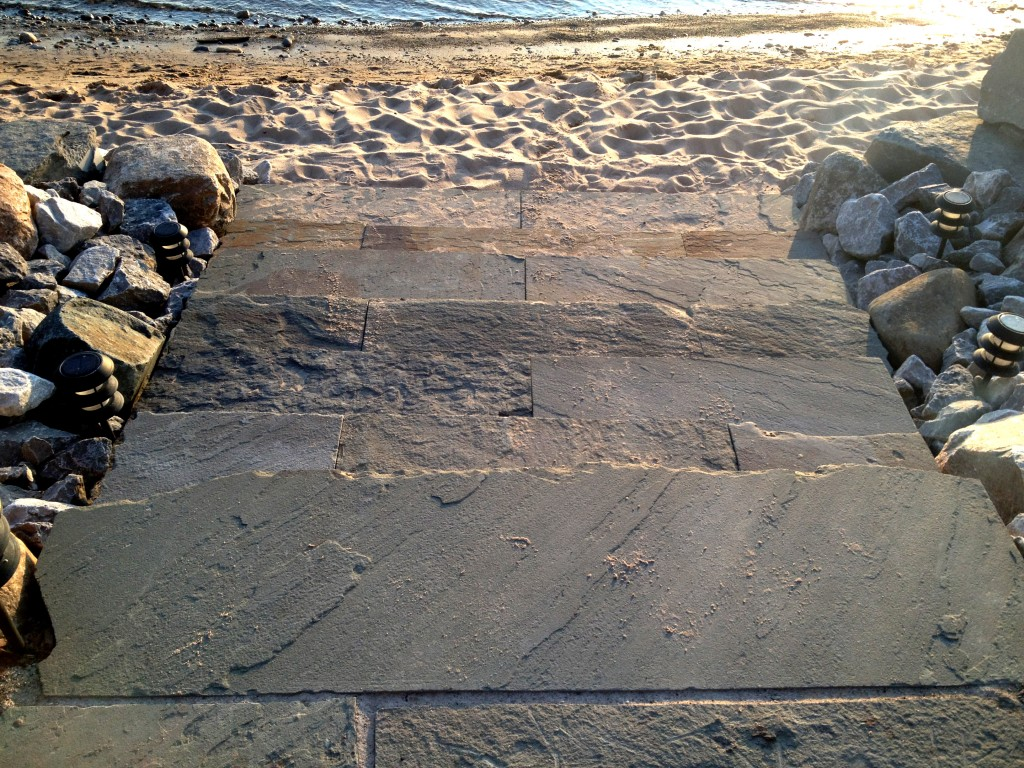 slate stairs down to lake Michigan beach