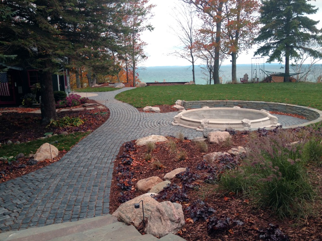 view of fountain overlooking lake Michigan