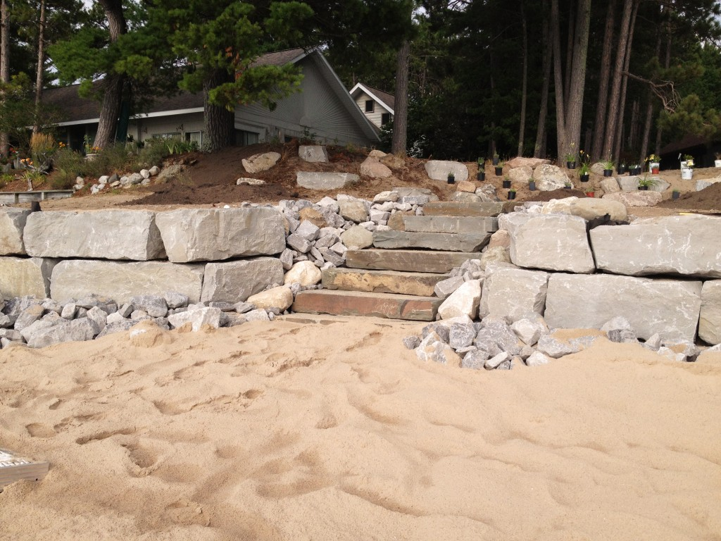 stone stairs leading away from beach