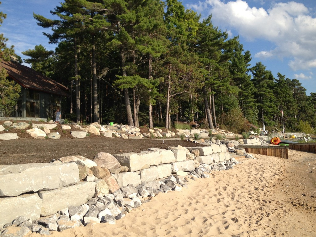 beach large stone wall