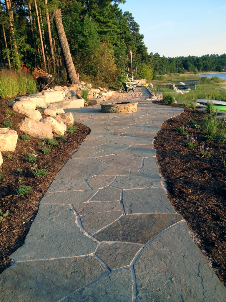 flagstone walkway on lakefront