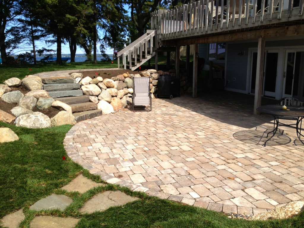 outside patio with slab stone stairway