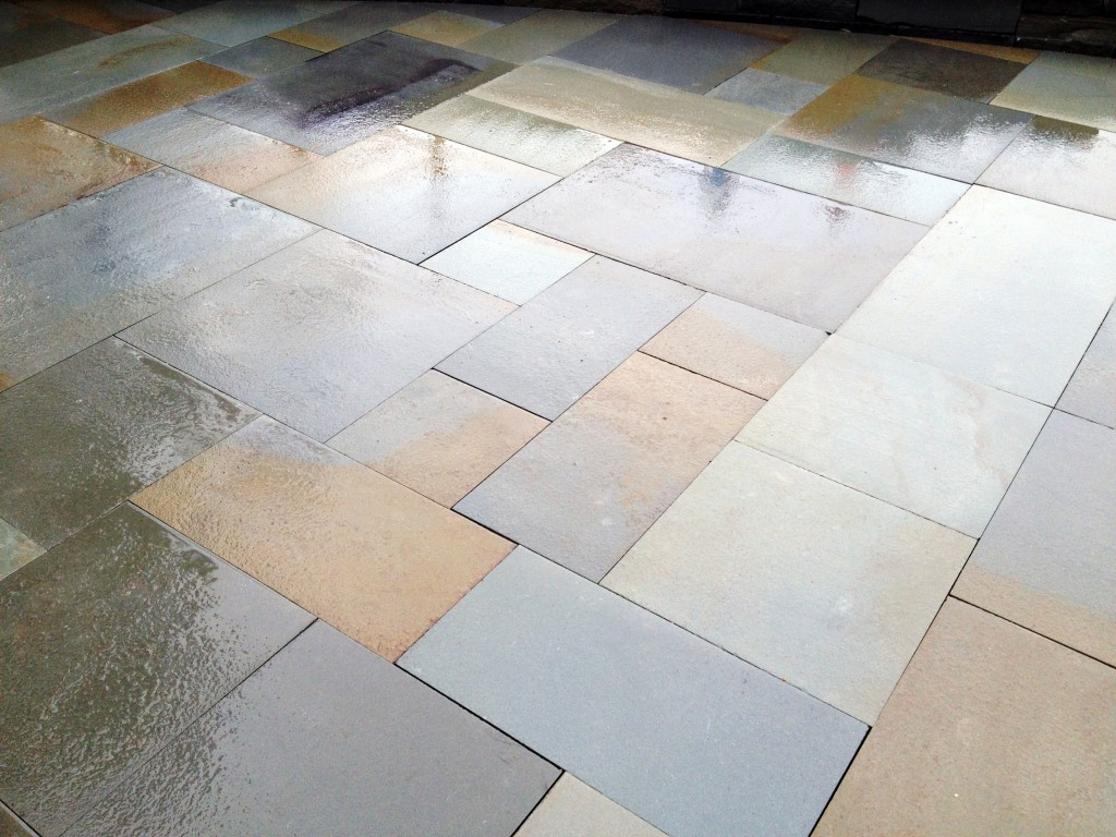wet polished multi colored paving stones