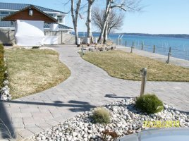 custom walkway with paver bricks