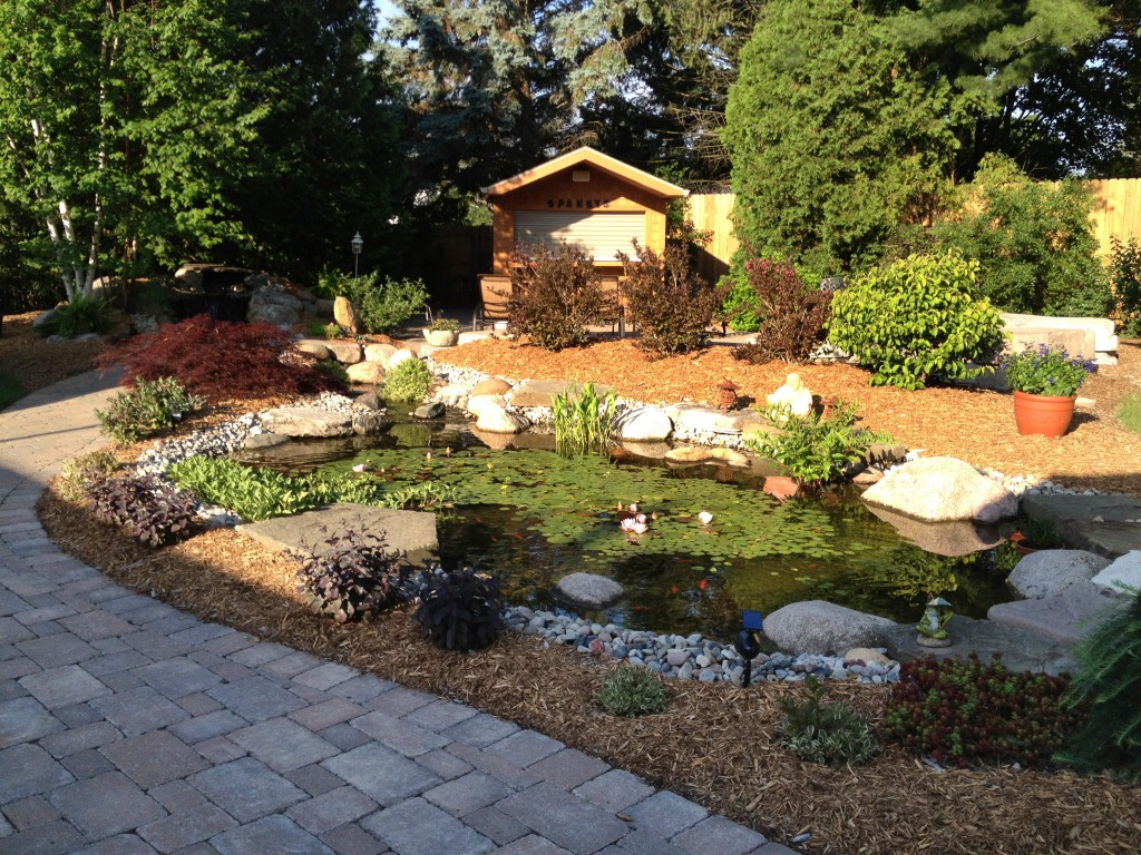 custom pond with large stones