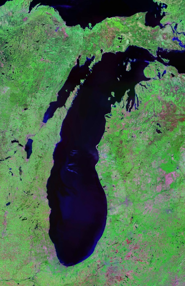 satelite view of Lake Michigan